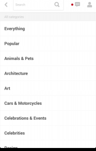 Pinterest Search Categories